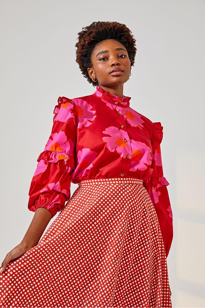 camisa-bufante-floral-pop-vermelho